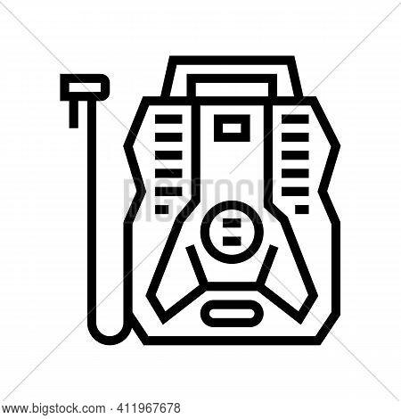 Portable Air Compressor Line Icon Vector. Portable Air Compressor Sign. Isolated Contour Symbol Blac