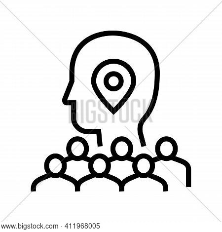 Searching Potential Client Crowdsoursing Service Line Icon Vector. Searching Potential Client Crowds