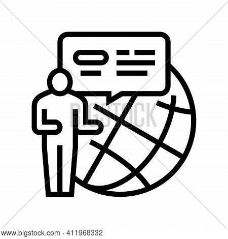 Worldwide Crowdsoursing Line Icon Vector. Worldwide Crowdsoursing Sign. Isolated Contour Symbol Blac