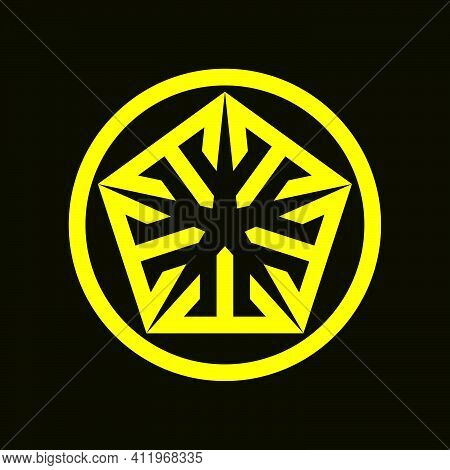 Initial Letter T Or M Logo Template With Geometric Pentagonal Japanese Kamon Line Art Illustration I