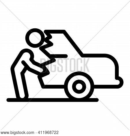Careless Person Car Broken Icon. Outline Careless Person Car Broken Vector Icon For Web Design Isola