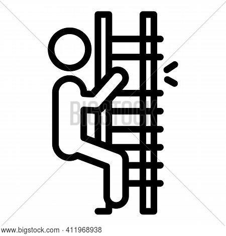 Broken Ladder Careless Person Icon. Outline Broken Ladder Careless Person Vector Icon For Web Design