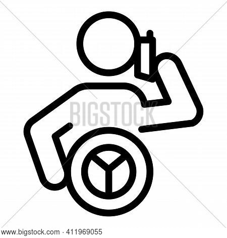 Careless Driver Phone Talking Icon. Outline Careless Driver Phone Talking Vector Icon For Web Design