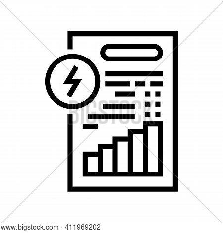 Invoice Document Of Energy Saving Line Icon Vector. Invoice Document Of Energy Saving Sign. Isolated