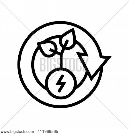 Plant Recovery Energy Saving Line Icon Vector. Plant Recovery Energy Saving Sign. Isolated Contour S