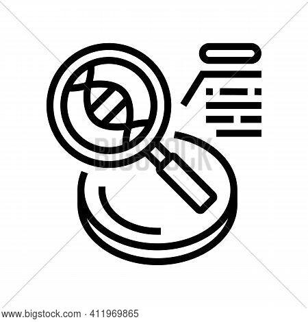 Researching Genetic Molecule Line Icon Vector. Researching Genetic Molecule Sign. Isolated Contour S