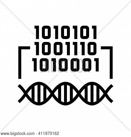 Binary Code Genetic Information Line Icon Vector. Binary Code Genetic Information Sign. Isolated Con