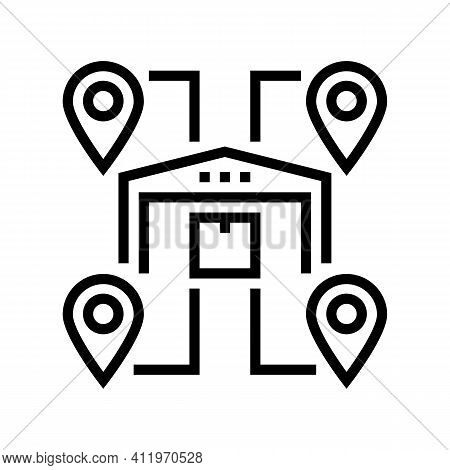 Storehouses Location Line Icon Vector. Storehouses Location Sign. Isolated Contour Symbol Black Illu