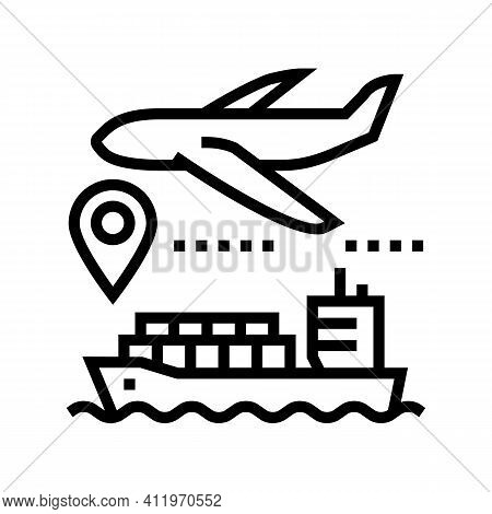 Airplane And Ship Delivering Line Icon Vector. Airplane And Ship Delivering Sign. Isolated Contour S