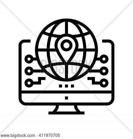 Global Logistics Line Icon Vector. Global Logistics Sign. Isolated Contour Symbol Black Illustration