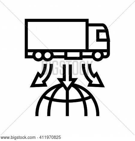 Truck Delivery World Logistics Line Icon Vector. Truck Delivery World Logistics Sign. Isolated Conto