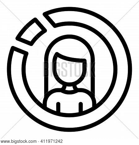 Woman Target Audience Icon. Outline Woman Target Audience Vector Icon For Web Design Isolated On Whi