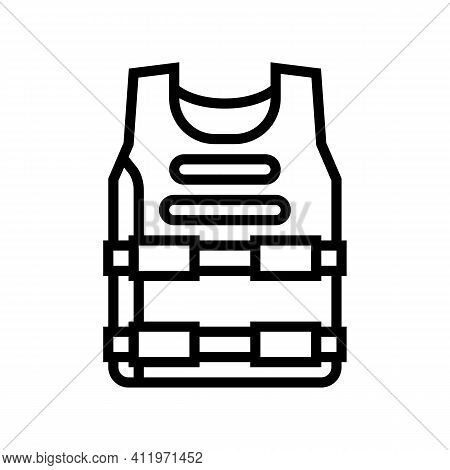 Body Armour Protect Line Icon Vector. Body Armour Protect Sign. Isolated Contour Symbol Black Illust