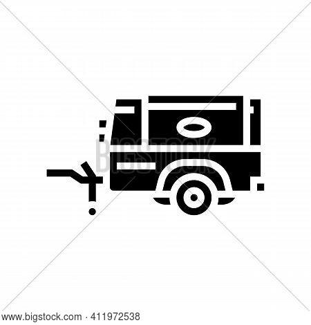 Diesel Air Compressor Glyph Icon Vector. Diesel Air Compressor Sign. Isolated Contour Symbol Black I
