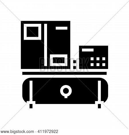 Spiral Air Compressor Glyph Icon Vector. Spiral Air Compressor Sign. Isolated Contour Symbol Black I