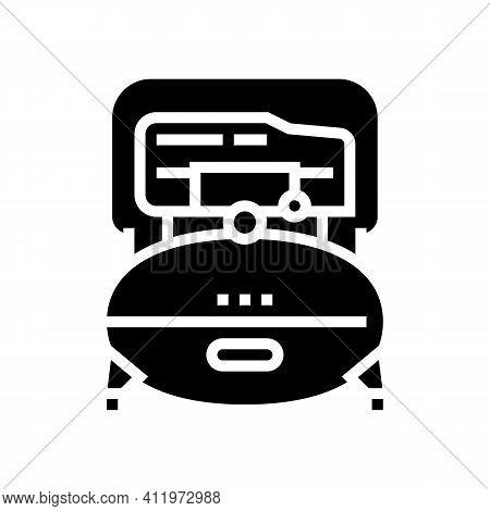 Industry Air Compressor Glyph Icon Vector. Industry Air Compressor Sign. Isolated Contour Symbol Bla