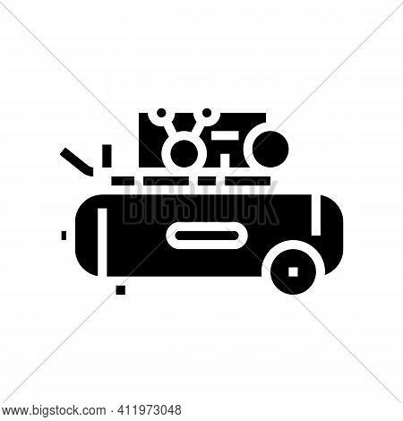 Piston Air Compressor Glyph Icon Vector. Piston Air Compressor Sign. Isolated Contour Symbol Black I