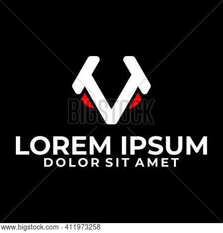Initial Letter T, Tt, Tv Or Vt Logo Template With Geometric Abstract Animal Head Line Art Illustrati