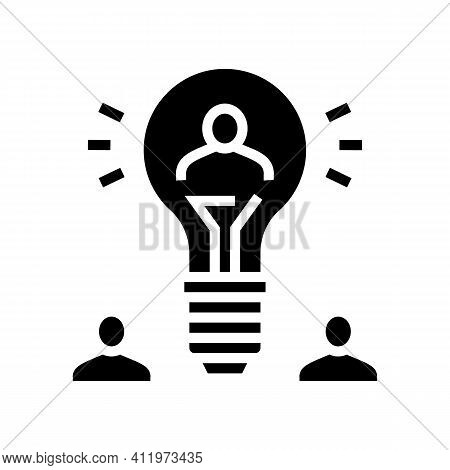 Idea For Search Potential Client And Crowdsoursing Glyph Icon Vector. Idea For Search Potential Clie