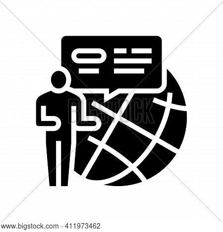 Worldwide Crowdsoursing Glyph Icon Vector. Worldwide Crowdsoursing Sign. Isolated Contour Symbol Bla