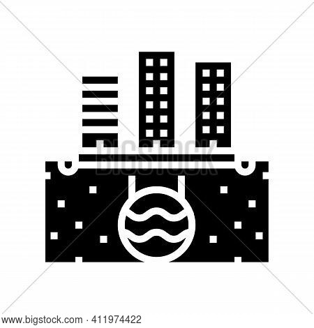 Urban Drainage System Glyph Icon Vector. Urban Drainage System Sign. Isolated Contour Symbol Black I