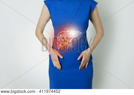 Photo Template Of Unrecognizable Woman Representing Graphic Visualisation Of Liver Organ Highlighted