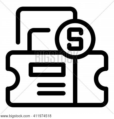 Money Shop Voucher Icon. Outline Money Shop Voucher Vector Icon For Web Design Isolated On White Bac