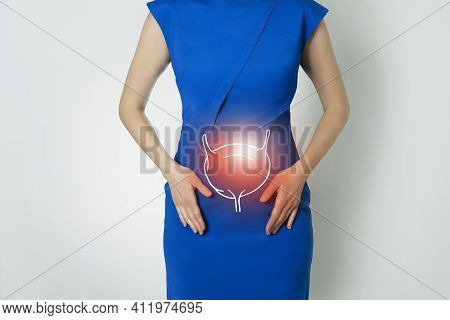 Photo Template Of Unrecognizable Woman Representing Graphic Visualisation Of Bladder Organ Highlight