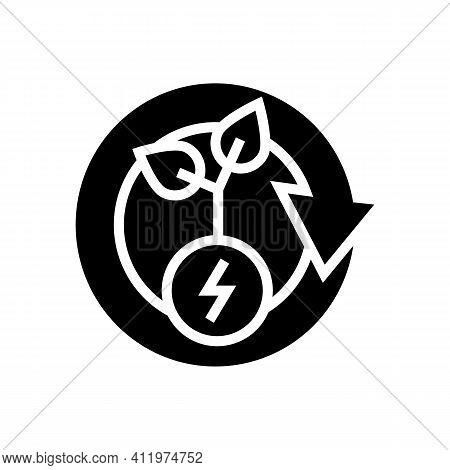Plant Recovery Energy Saving Glyph Icon Vector. Plant Recovery Energy Saving Sign. Isolated Contour