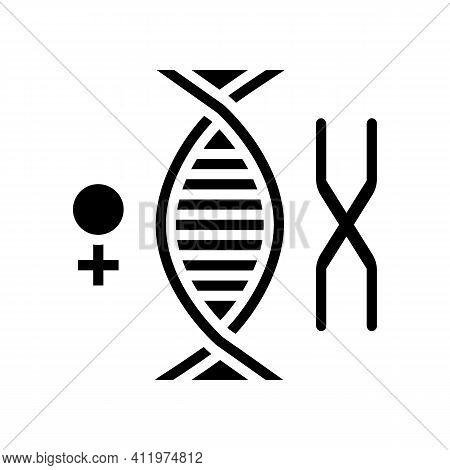 Female Chromosome Genetic Glyph Icon Vector. Female Chromosome Genetic Sign. Isolated Contour Symbol