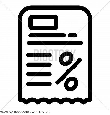 Paper Card Voucher Icon. Outline Paper Card Voucher Vector Icon For Web Design Isolated On White Bac