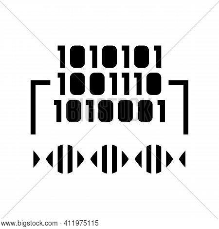 Binary Code Genetic Information Glyph Icon Vector. Binary Code Genetic Information Sign. Isolated Co