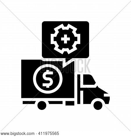 Cost Of Logistics Services Glyph Icon Vector. Cost Of Logistics Services Sign. Isolated Contour Symb