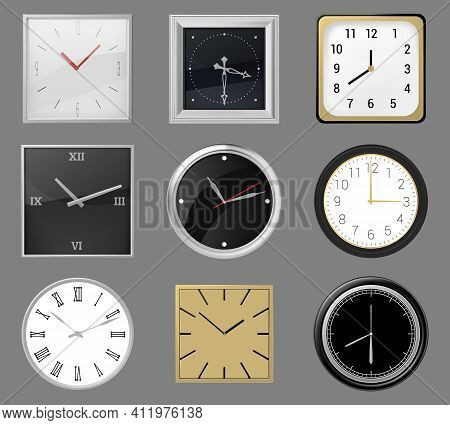 Realistic Wall Clocks. Round And Square Clocks Face, 3d Classic Silver, Gold Wall Clocks, Analog Tim