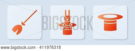 Set Magician Hat And Rabbit, Witches Broom And Magician Hat. White Square Button. Vector