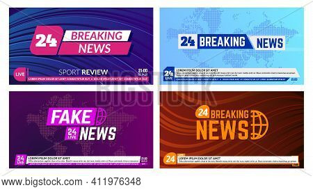 Tv News Banners. Breaking News Banner Headline, Global News Report Backdrops. Television News Broadc