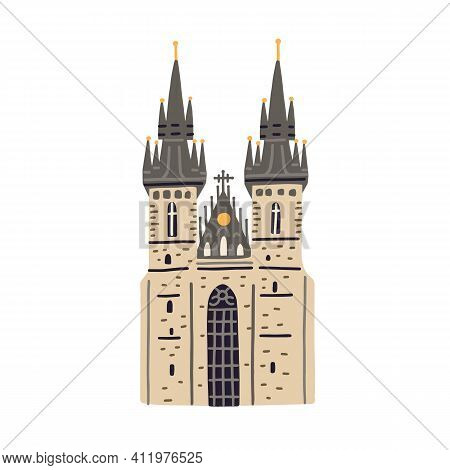 Tyn Church In Prague. Old Czech Building With Black Towers And Gothic Spires. Colored Flat Vector Il