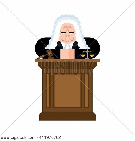 Angry Judge. Strict Magistrate. Cartoon Character Vector