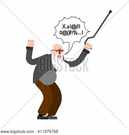 Angry Grandfather Grumbles. Grumpy Granddad. Vector Illustration
