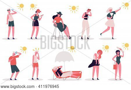 People In Hot Weather. Male And Female Characters Suffer From Heat, Summer Extreme Hot Weather. Seas
