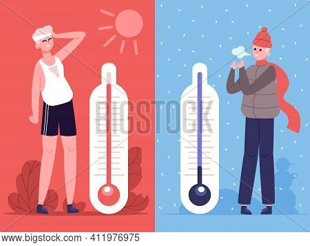 Man In Hot And Cold Weather. Outdoor Temperature Thermometers, Weather Influence Human. Male Charact