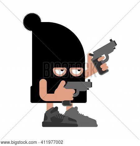 Cute Robber Isolated. Cartoon Thug Vector Illustration