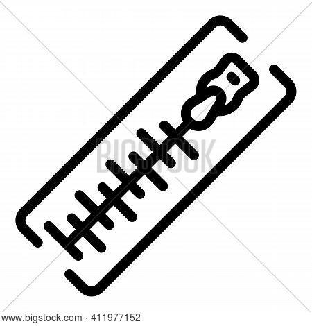 Knitting Zipper Icon. Outline Knitting Zipper Vector Icon For Web Design Isolated On White Backgroun