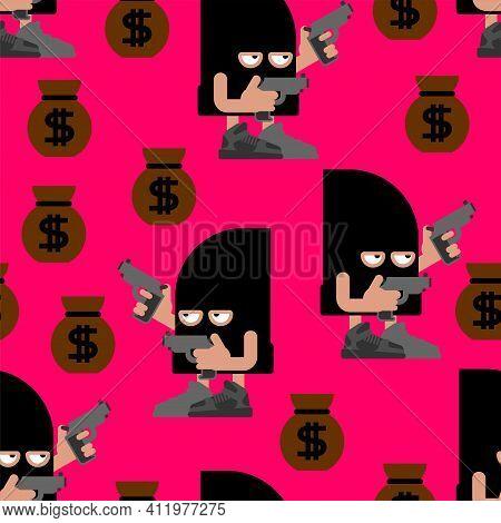Cute Robber Pattern Seamless. Cartoon Thug Background