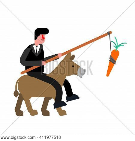 Businessman Rides Donkey And Carrot. Driving Donkey. Goal Achievement Concept