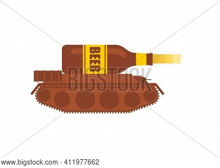 Beer Tank. Alcoholic Troops. Military Tank Shoots Beer. Vector Illustration