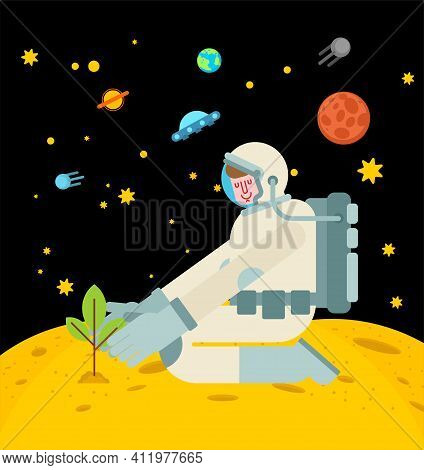 Astronaut Is Planting Tree On Moon. Spaceman Planting Plant