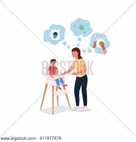 Stressed Mother With Baby In Highchair Flat Color Vector Detailed Characters. Young Mom Struggles. D
