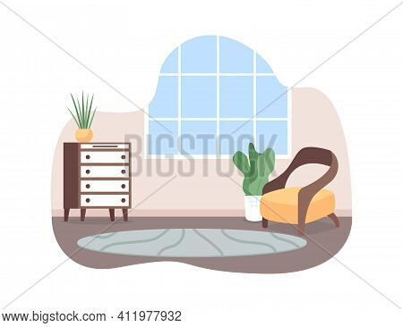 Living Room Space 2d Vector Web Banner, Poster. Cosy Armchair. Residential Apartment Interior. House