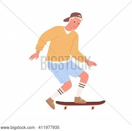 Modern Skateboarder Pushing With Foot And Riding Skateboard. Young Male Skater With Long Board. Summ